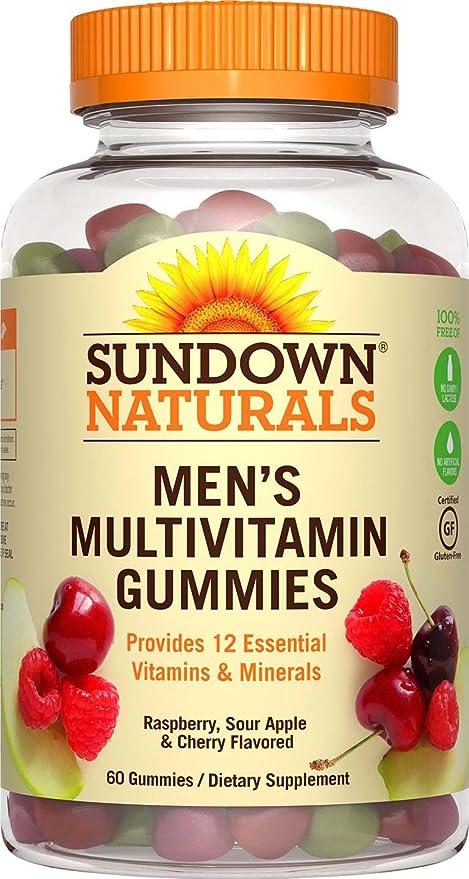 Sundown Naturals - Amargo de gomitas sin gluten multivitamínico hombres con vitaminas del complejo B y