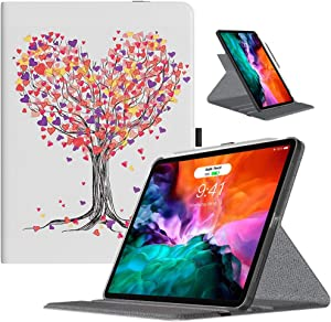 TiMOVO Case Fit New iPad Pro 12.9 Inch 2020 (4th Generation), 90 Degree Rotating Stand Leather Protective Cover, Smart Swivel Case [Support Apple Pencil Charging], Auto Sleep/Wake - Love Tree