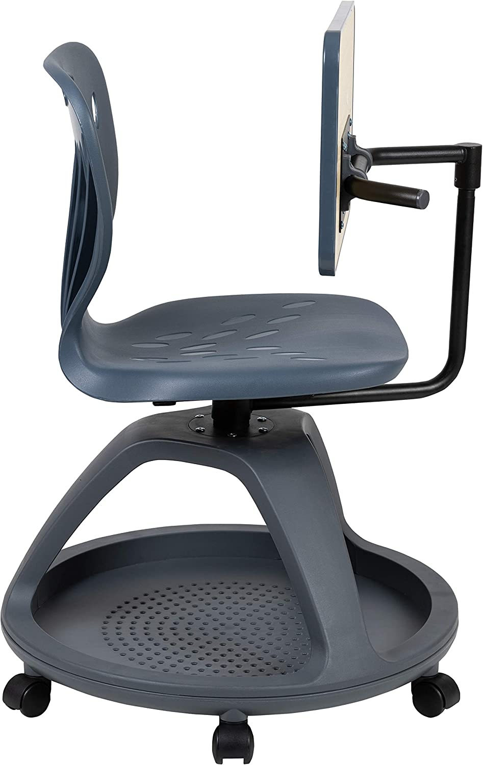 Flash Furniture Dark Gray Mobile Desk Chair with 360 Degree Tablet Rotation and Under Seat Storage Cubby