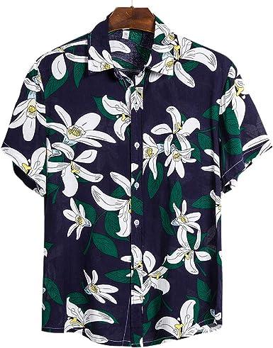 Loozykit Funky - Camisa Hawaiana para Hombre, Estilo Informal, Manga Corta Cs117 L: Amazon.es: Ropa y accesorios