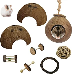 Hamiledyi Natural Coconut Hut Hamster House,Hideout Hut for Pets,Small Animal Chew ToysAccessories Habitats Decor for Guinea Pig Gerbils and Other Small Animals (7PCS)