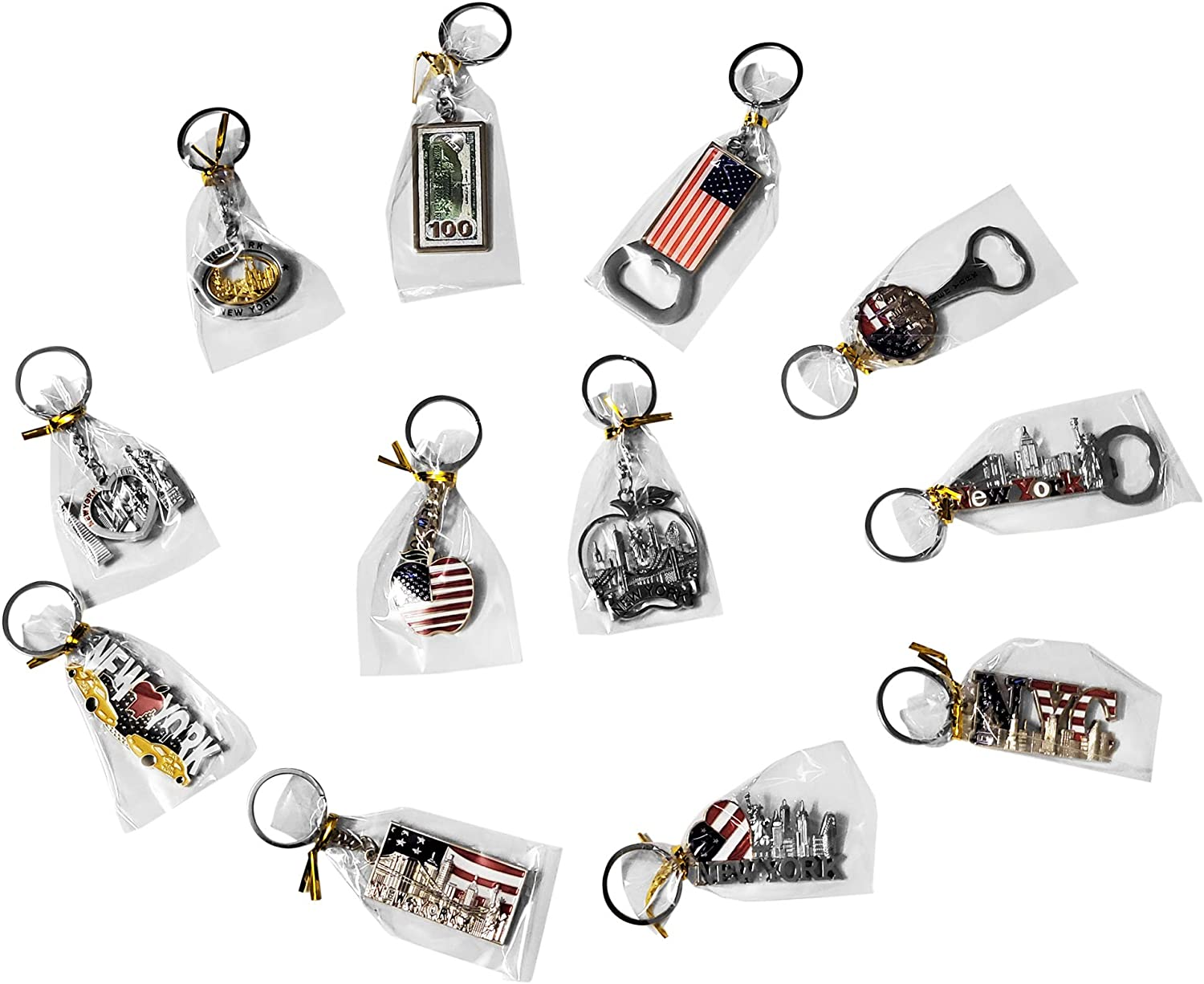 12 Pack NYC Souvenir Collection New York Metal Keychain Ring Bundle Bulk Includes 3pc Bottle Opener, USA Flag,NY Cab, Apple, And More