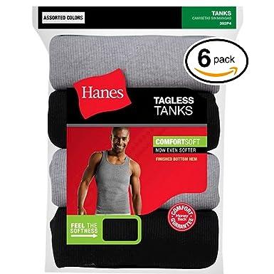 Hanes Mens FreshIQ TAGLESS ComfortSoft Undershirt 6-Pack (Large, ...