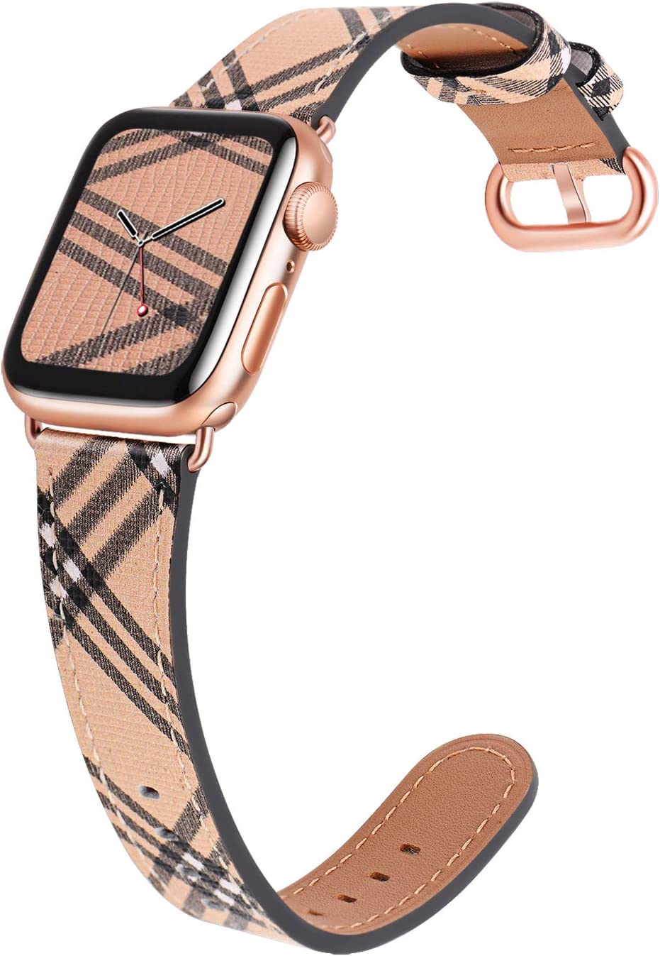 JSGJMY Leather Band Compatible with Apple Watch 38mm 40mm 42mm 44mm Women Men Strap for iWatch SE Series 6 5 4 3 2 1(Lattice+Match SE/6/5/4/3 Rose Gold, 38mm/40mm S/M)