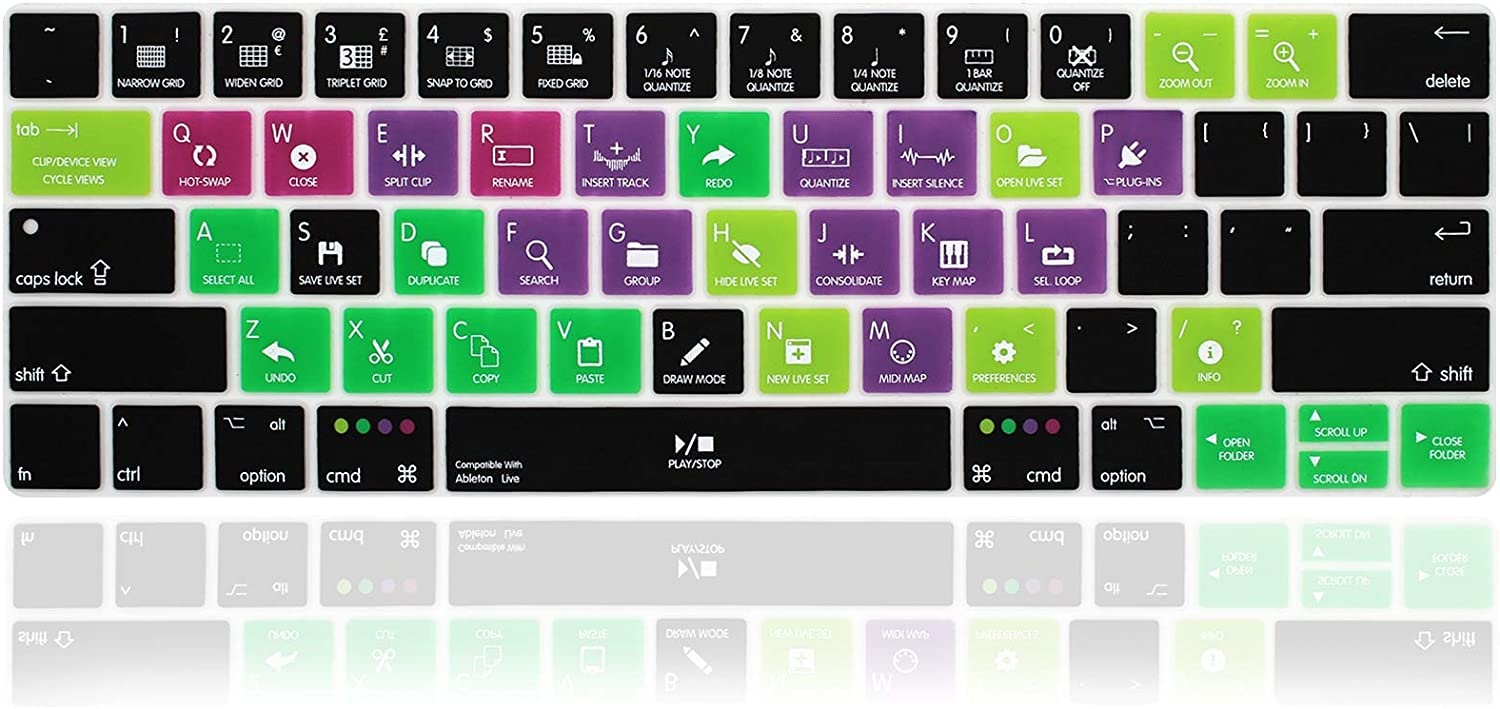 MMDW English Silicone ableton Live Shortcuts Hotkey Keyboard Cover Skin for MacBook Pro with Touch Bar 13-inch 15-inch(Model A2159,A1989,A1990,A1706,A1707) (2019-2016) USA Layout Protective Skin