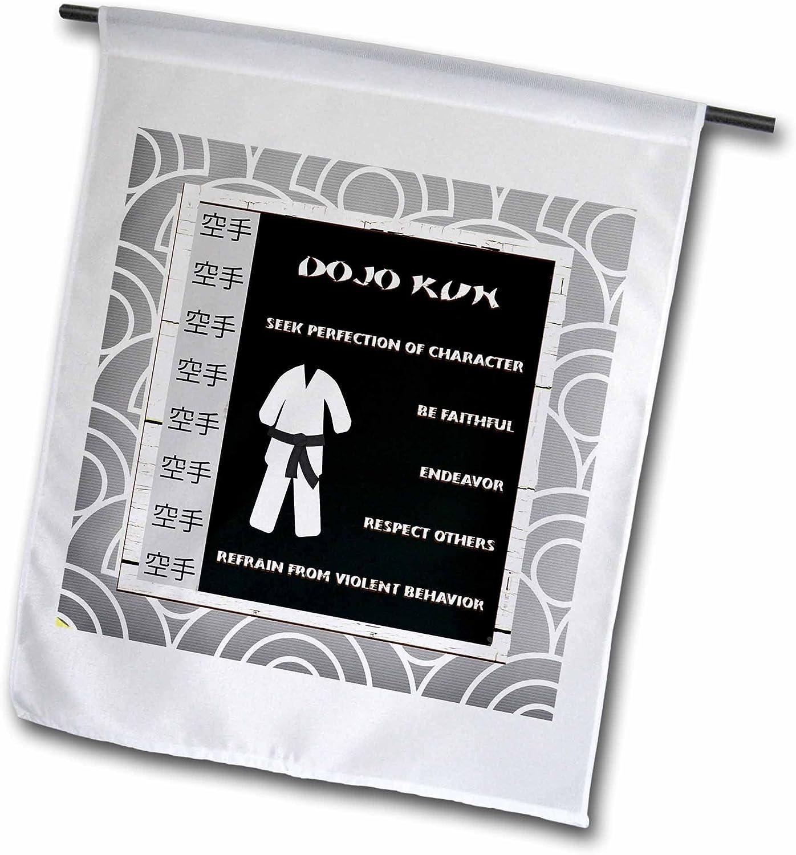 "3dRose fl_218337_2""Dojo Kun, Japanese Martial Arts, Karate Rules, Black Belt Garden Flag, 18 x 27"