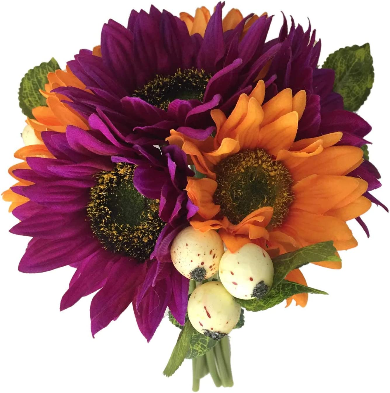 Lily Garden Artificial Flowers Sunflowers with Berry Bouquet (Purple)