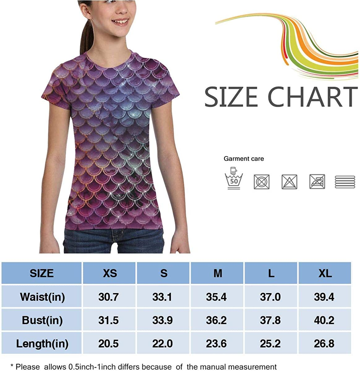 Girls Casual Loose Short Sleeve Watercolor Scales Fashion Round Neck Tops Tee Shirts