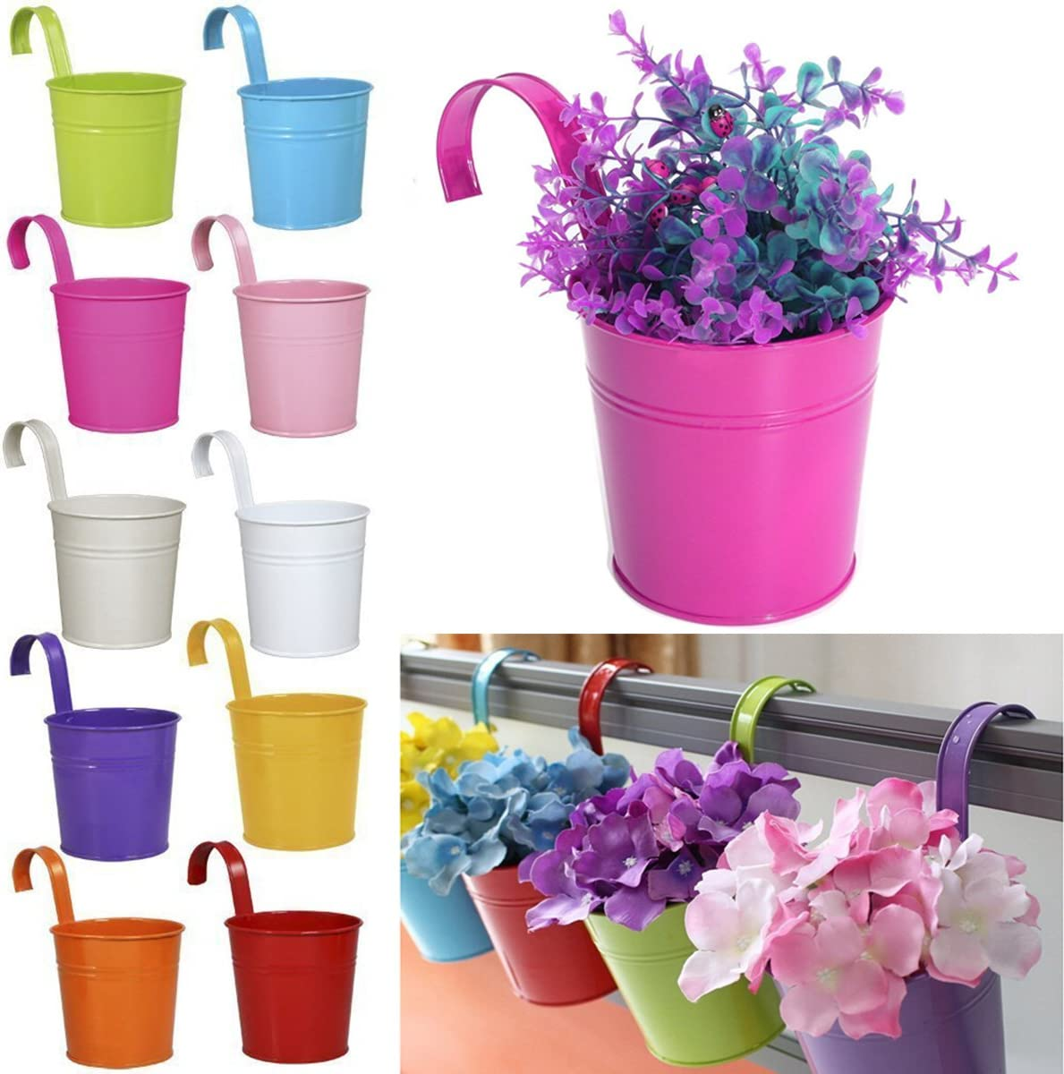 M/étal Fer Pots de Fleurs Suspendu Balcon Jardin Home Decor 10 PC Ogima/®
