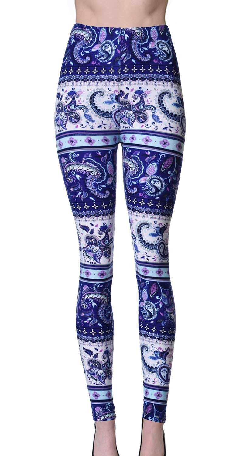 VIV Collection Plus Size Regular Size Printed Brushed Ultra Soft Leggings (Paisley Dusk)