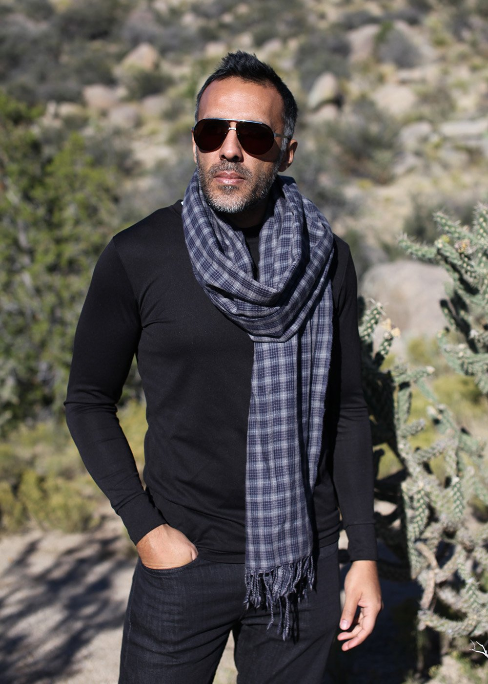 Anika Dali Men's Marco Check Plaid Scarf in Soft Wool with Tassels by Anika Dali (Image #3)