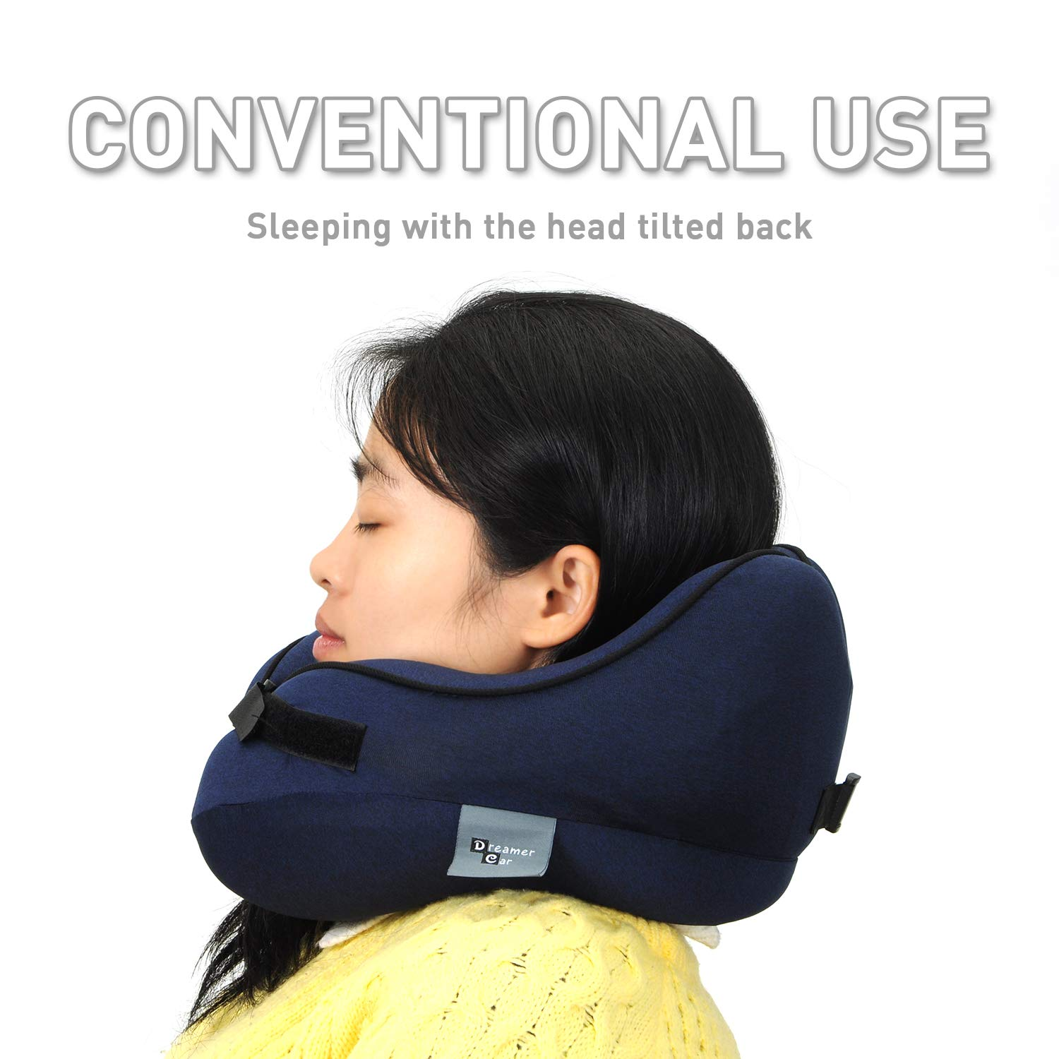 Dreamer Car Neck Supporting Travel Pillow- Soothe Neck Fatigue-Support The Head, Neck and Chin in Any Sitting Positions- Dark Blue