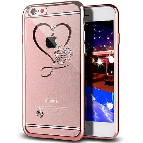 Funda iPhone 6S Plus,Funda iPhone 6 Plus,Brillante cristal diamante scintillio brillantes chapado Funda transparente Silicona Gel Cover Case Funda ...
