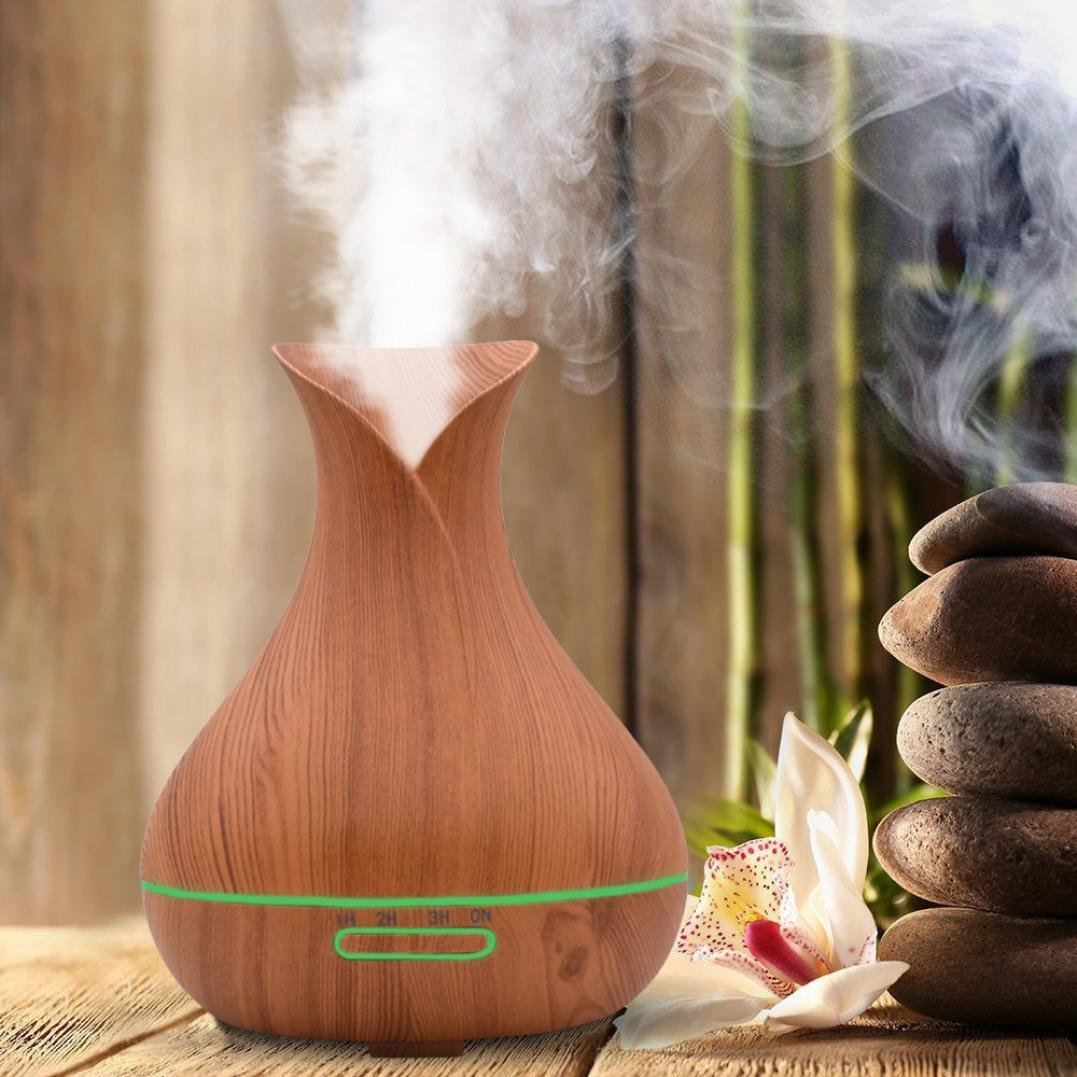 CYCTECH 400ml Cool Mist Air Aroma Humidifier Ultrasonic Aromatherapy Aroma Essential Oil Diffuser or Office Home Bedroom Living Room Study Yoga Spa (Khaki)