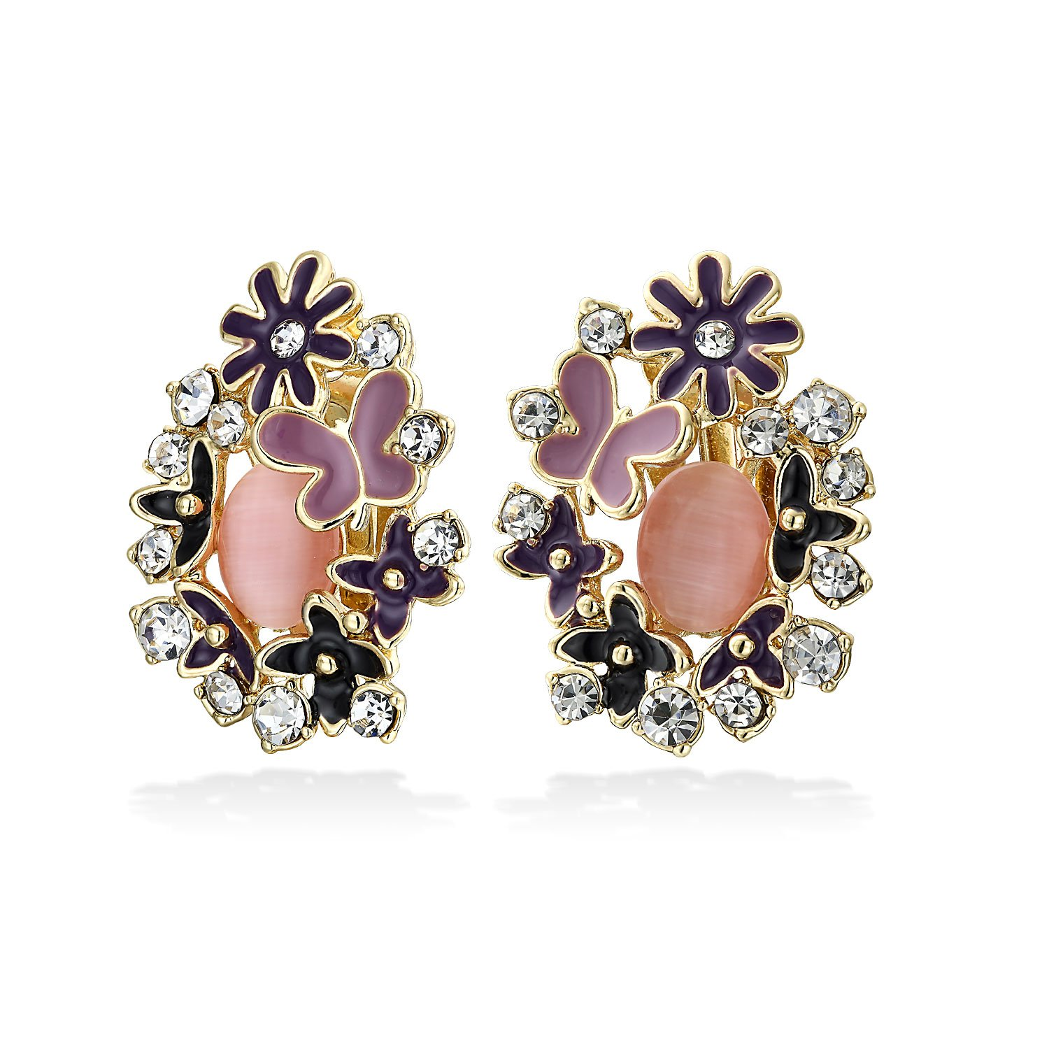 Bling Jewelry Purple Flower Simulated Pink Cats Eye Clip Ons Gold Plated ELG-505568-PK