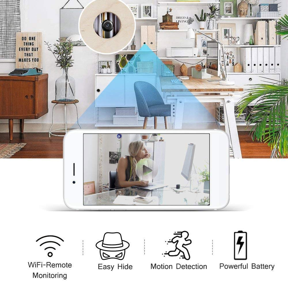 Wireless Hidden Camera, ENKLOV WiFi Spy Camera with Motion Detection, HD 1080P Nanny Cam for iOS iPhone Android Phone App Remote View, Support 128GB SD Card, Built-in Battery by ENKLOV (Image #1)