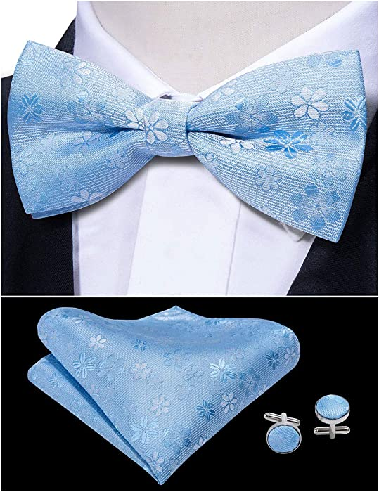 fc22f9652154 Mens Bow Ties Pre-tied Blue Floral Bow Tie Hanky Set Adjustable Length  Multicolor Color Yohowa: Amazon.co.uk: Clothing