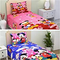 SinghsVillas Decor Cotton Combo of 2 Single Cartoon Printed Bedsheets with 2 Pillow Covers (Standard Size, Multicolor)