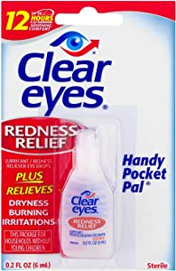 Clear Eyes Redness Relief Eye Drops Handy Pocket Pal 0.20 oz (12 Pack)