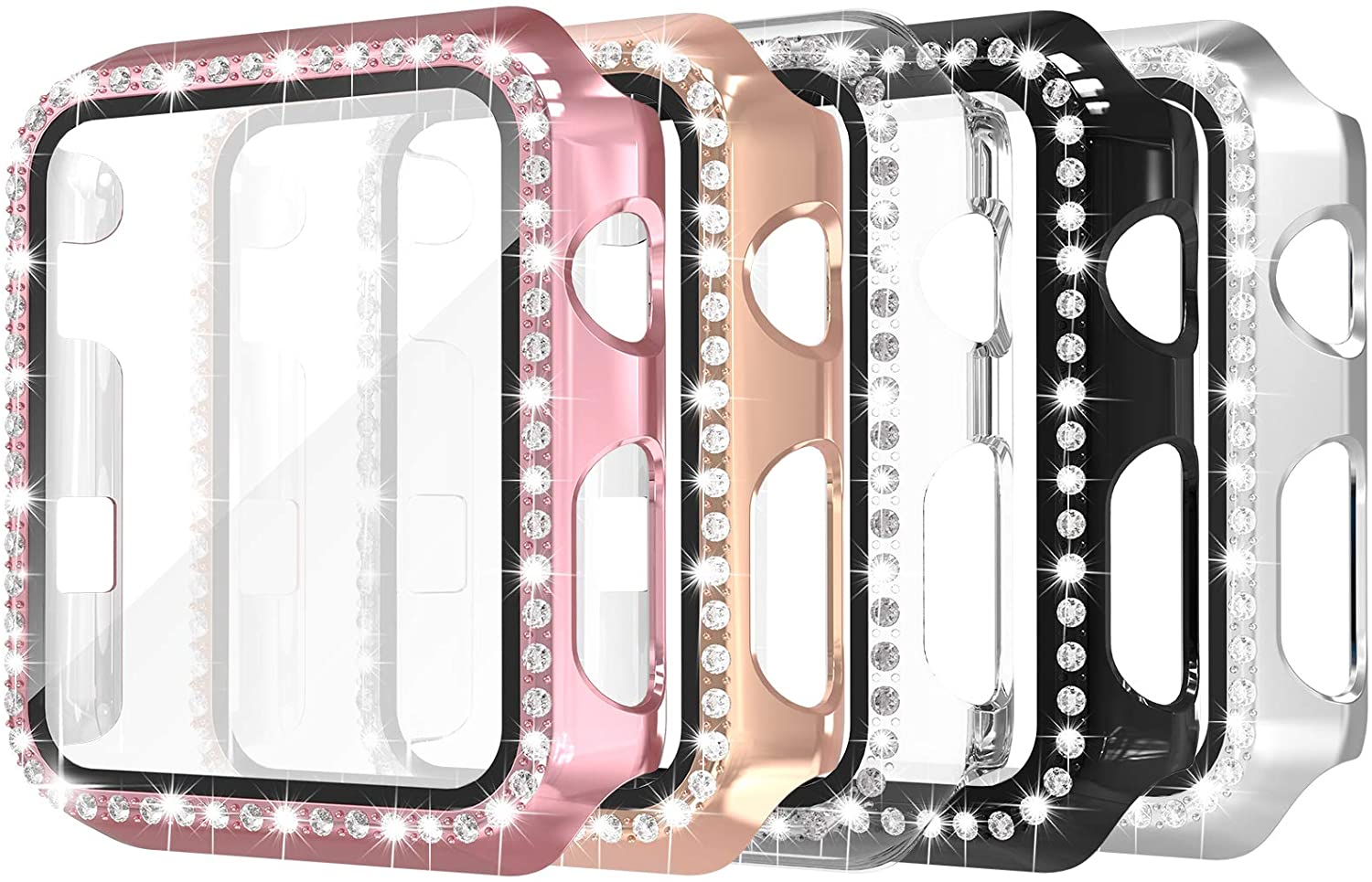 Simpeak 5 Pack 38mm Bling Case Built-in Glass Screen Protector Compatible with Apple Watch Series 3 2 1, Crystals Hard Protector Case Replacement for iWatch 38mm, Rose Gold Pink/Black/Silver/Clear
