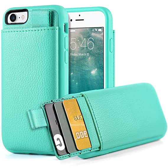 wholesale dealer 437e2 d992b LAMEEKU iPhone 7 Card Holder Case, iPhone 8 Wallet Case, Shockproof Leather  Cover Wallet case with Credit Card Slot Holder, Protective Cover for Apple  ...