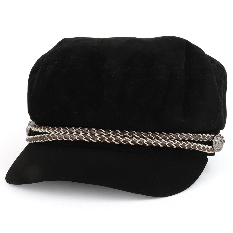 Trendy Apparel Shop Baker Boy Style Cabbie Rope Band Velvet Fiddler Cap - Black