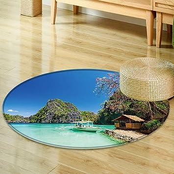 Amazon Round Rug Kid Carpet Filipino Boat In The Sea Coron