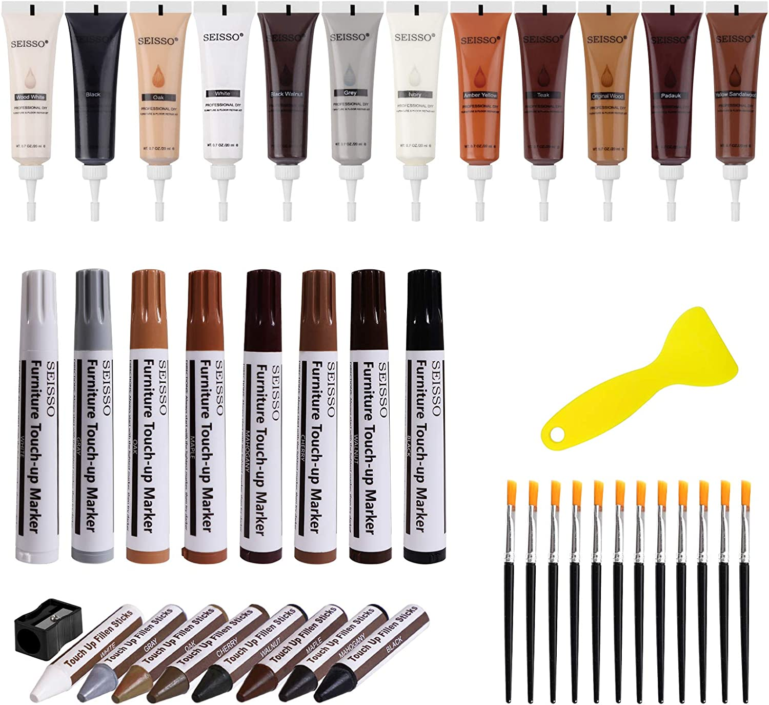 Wood Furniture Repair Kit and Fillers-Set of 28-Furniture Repair Wood Fillers, Markers and Wax Sticks-Used for The Repair of Wood Floor, Table, Bed, Cabinet, Chair-Stains and Scratches