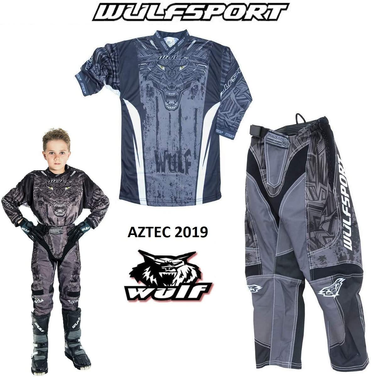 11-13 Years BLACK : SHIRT Kids Race Suit WULFSPORT FORTE 2020 Motorcycle Motorbike Quad Pit Bike ATV BMX Childrens Junior Motocross Black Jersey and Trouser , Pant : 20 waist