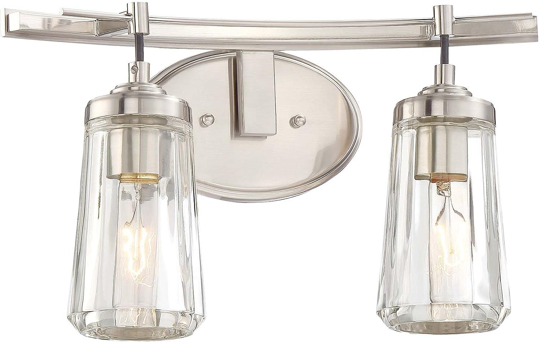 Minka Lavery Wall Light Fixtures 2302 84 Poleis Wall Bath Vanity Lighting 2 Light 120 Watts Brushed Nickel Home Improvement