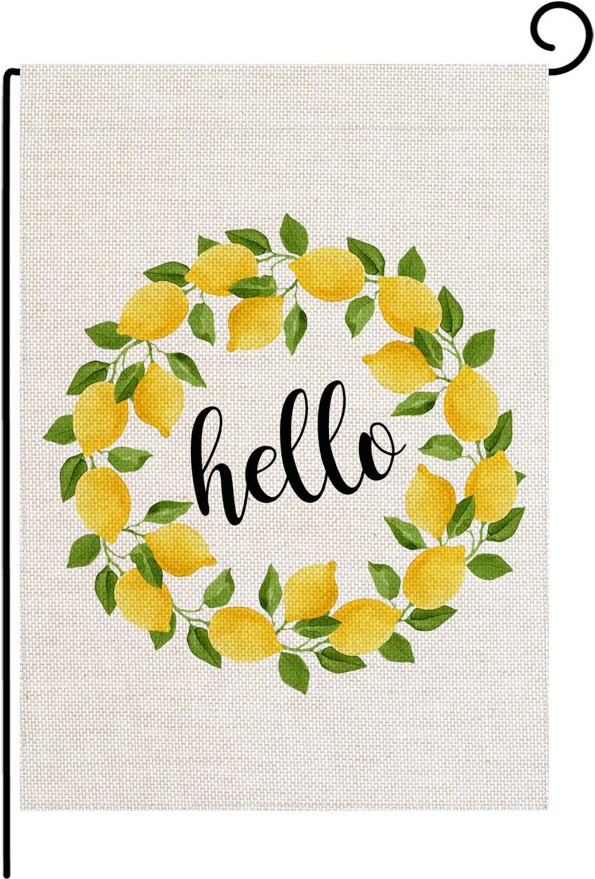 pingpi Hello Garden Flag,Lemon Wreath Small Garden Flag Vertical Double Sided 12.5 x 18 Inch Summer Burlap Yard Decor