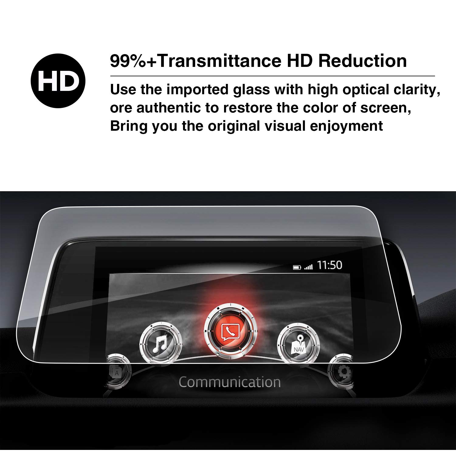 High Definition Car Navigation Screen Protection Film HXY YEE PIN 2017 2018 Mazda MZD Connect CX-5 Special Ladder Type Explosion-Proof Steel Film