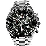 PnP fascia in argento opaco, lucido argento Watchcase Water Resist uomini orologio confezione regalo inclusa