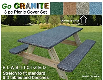 Go Granite Stretch To Fit 3 Pc Vinyl Picnic Table Cover Fits 6 Ft