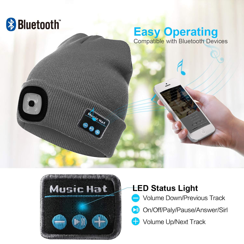 Altoparlante Stereo Incorporato e Microfono Inverno Caldo Lavorato a Maglia Senza Fili Bluetooth Cuffia Musica Lavabile Cappello per Corsa per Uomo Donna TAGVO Bluetooth 5.0 Cappello Berretti LED