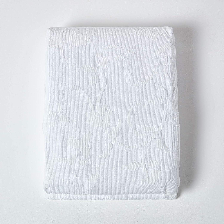 180 x 260 cm HOMESCAPES Couvre-lit cr/ème matelass/é Motif en Relief