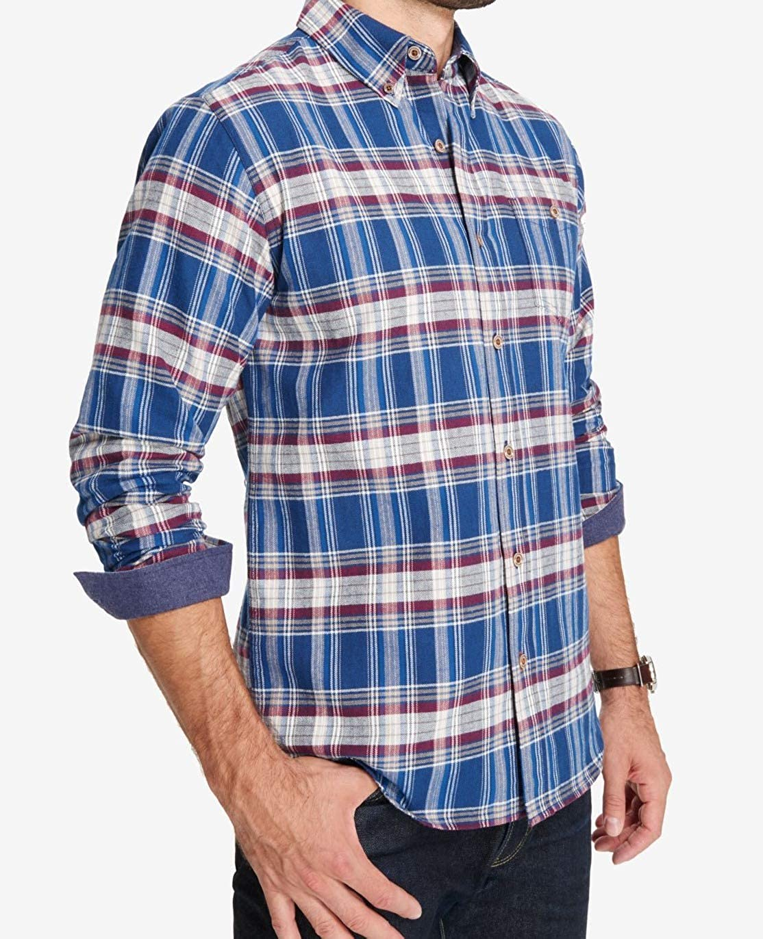 Storm, X-Large Mens Plaid Button Up Long Sleeve Shirt