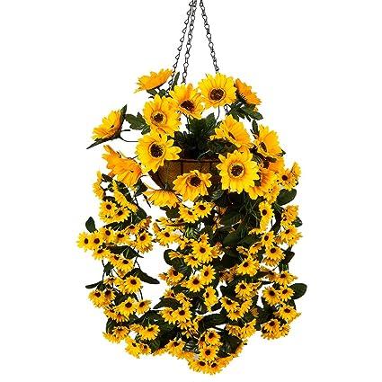 Amazon mixiflor hanging flowers basket artificial hanging mixiflor hanging flowers basket artificial hanging sunflowers for home balcony living room wedding decoration sunflower mightylinksfo