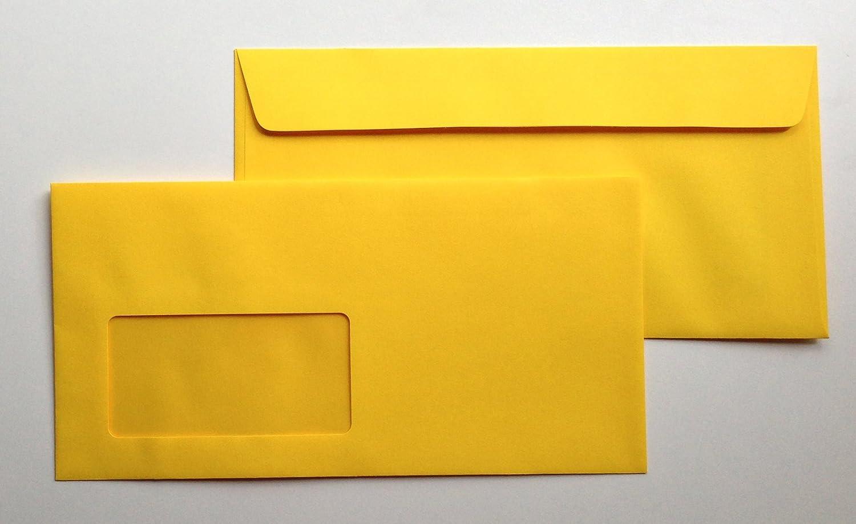DIN lang = 220 x 110 mm 100 Umschl/äge mit Fenster Fensterkuverts Schwefelgelb Haftklebestreifen Gelb