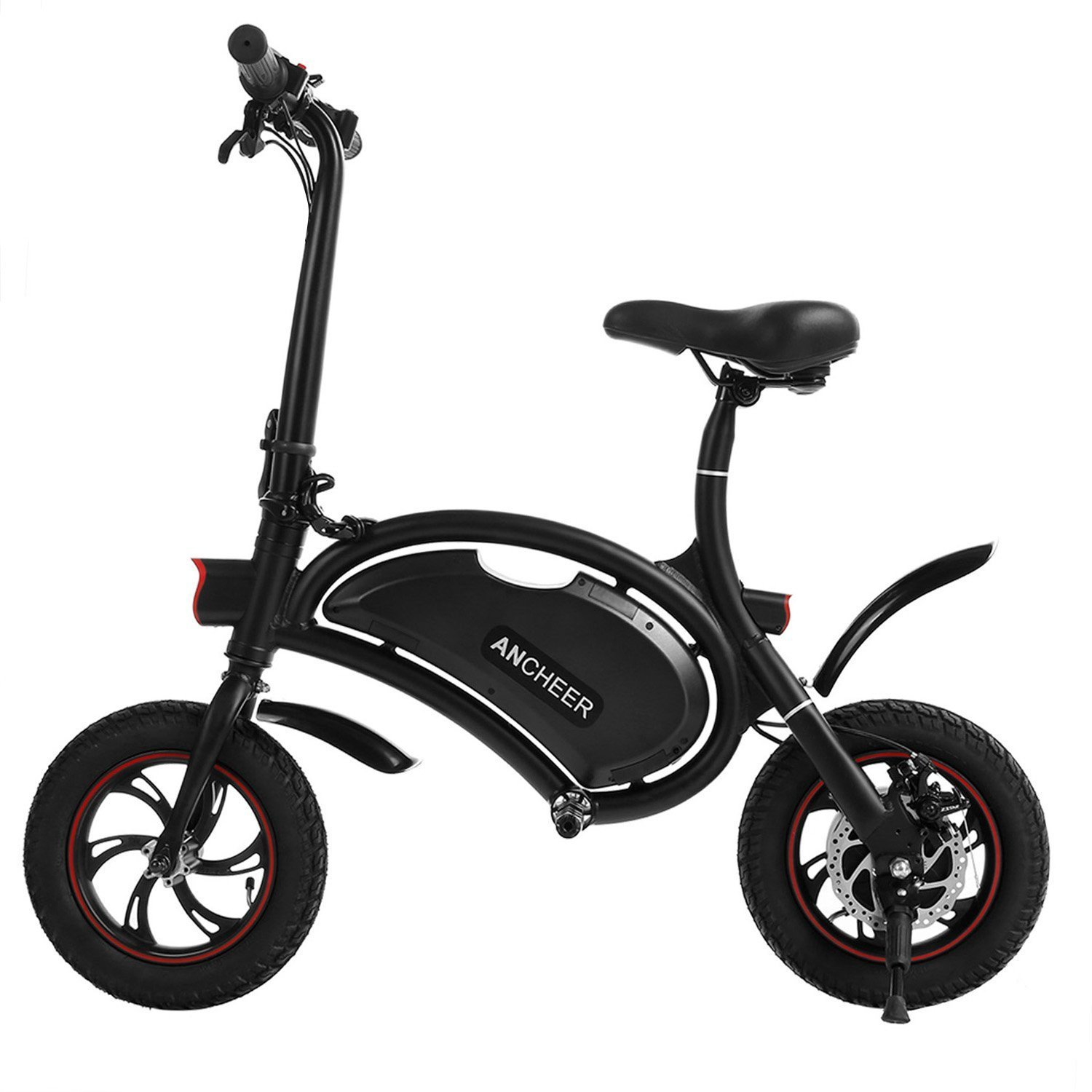 ANCHEER Folding Electric Bicycle/E-Bike/Scooter 350W Ebike with 12 Mile Range, APP Speed Setting (Seller Fulfilled Black-6AH)