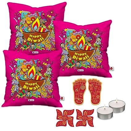 Buy Indi ts Diwali Gift Items Set of 3 Pink Cushion Cover