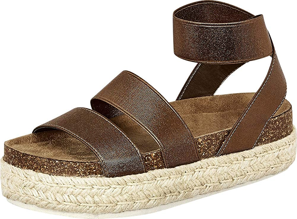 Whiskey Cambridge Select Women's Open Toe Stretch Strappy Chunky Espadrille Flatform Sandal