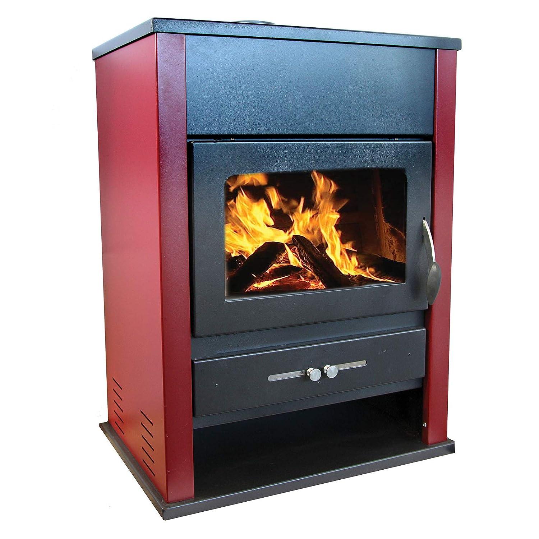 estufa de Leña Acero lacado 18 KW chimenea de 93 cm de altura Etna: Amazon.es: Hogar