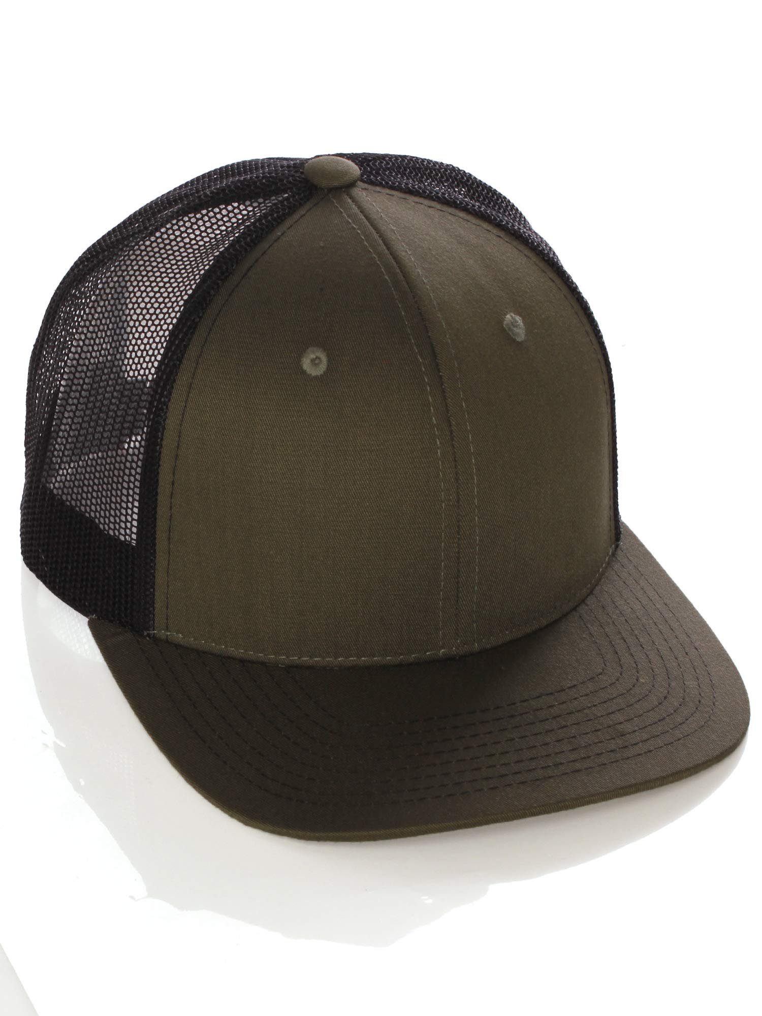 I W Hatgear Vintage Retro Style Plain Two Tone Trucker Hat Adjustable  Snapback Baseball Cap - Olive Black d640b7f0d08e