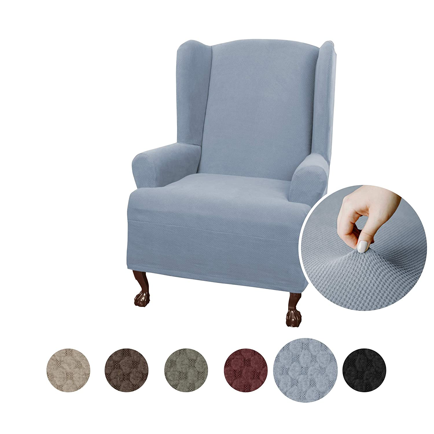 MAYTEX Pixel Ultra Soft Stretch Wing Back Arm Chair Furniture Cover Slipcover, Steel Blue