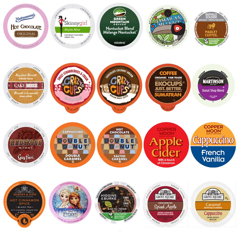 Coffee, Tea, Cider, Cappuccino, and Hot Chocolate Single Serve Cups For Keurig K cup Brewers, Perfect Sampler Pack, includes Hot Cocoa from Square and Crazy Cups, 20 Count