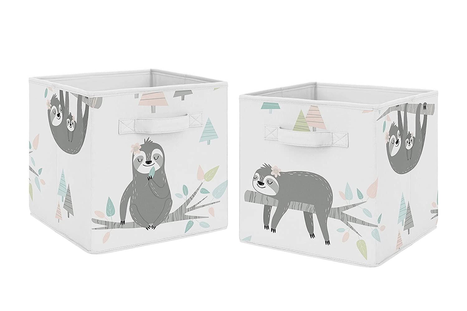 Sweet Jojo Designs Pink and Grey Jungle Sloth Leaf Foldable Fabric Storage Cube Bins Boxes Organizer Toys Kids Baby Childrens - Set of 2 - Blush, Turquoise, Gray, Green Tropical Botanical Rainforest
