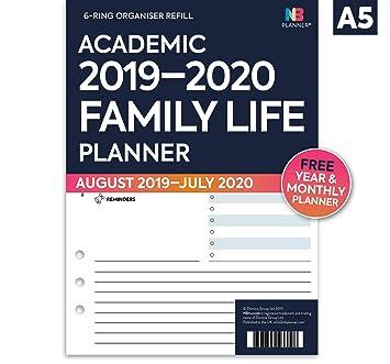 NBplanner® Academic 2019-2020 - Recambio para agenda de recambio, compatible con Filofax, color blanco, color Family