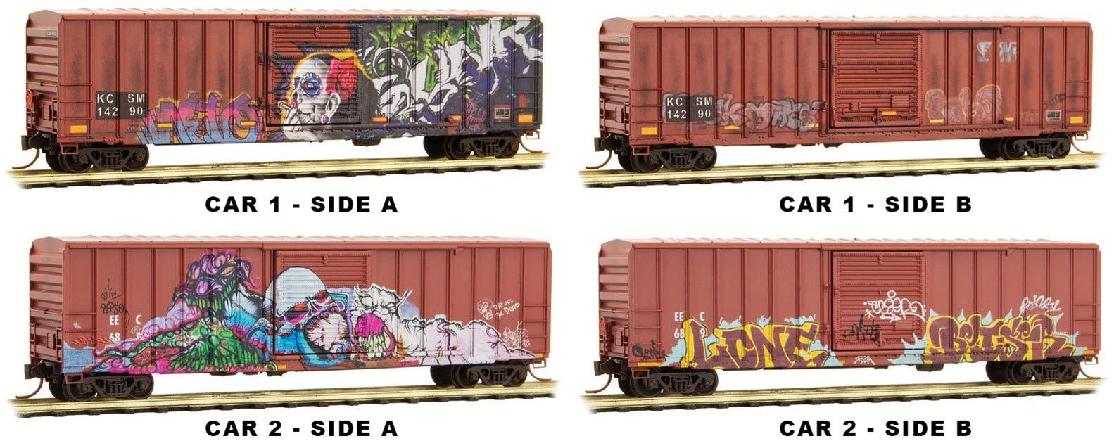Micro-Trains MTL N-Scale 50' Rib Side Box Cars Day of The Dead Graffiti 2-Pack
