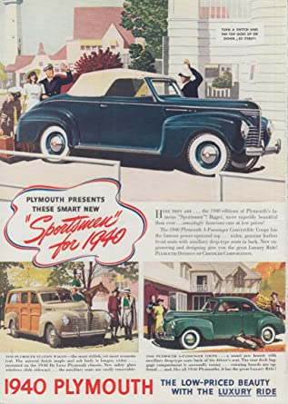 Smart New Sportsmen Plymouth Convertible Station Wagon Coupe Ad 1940 T